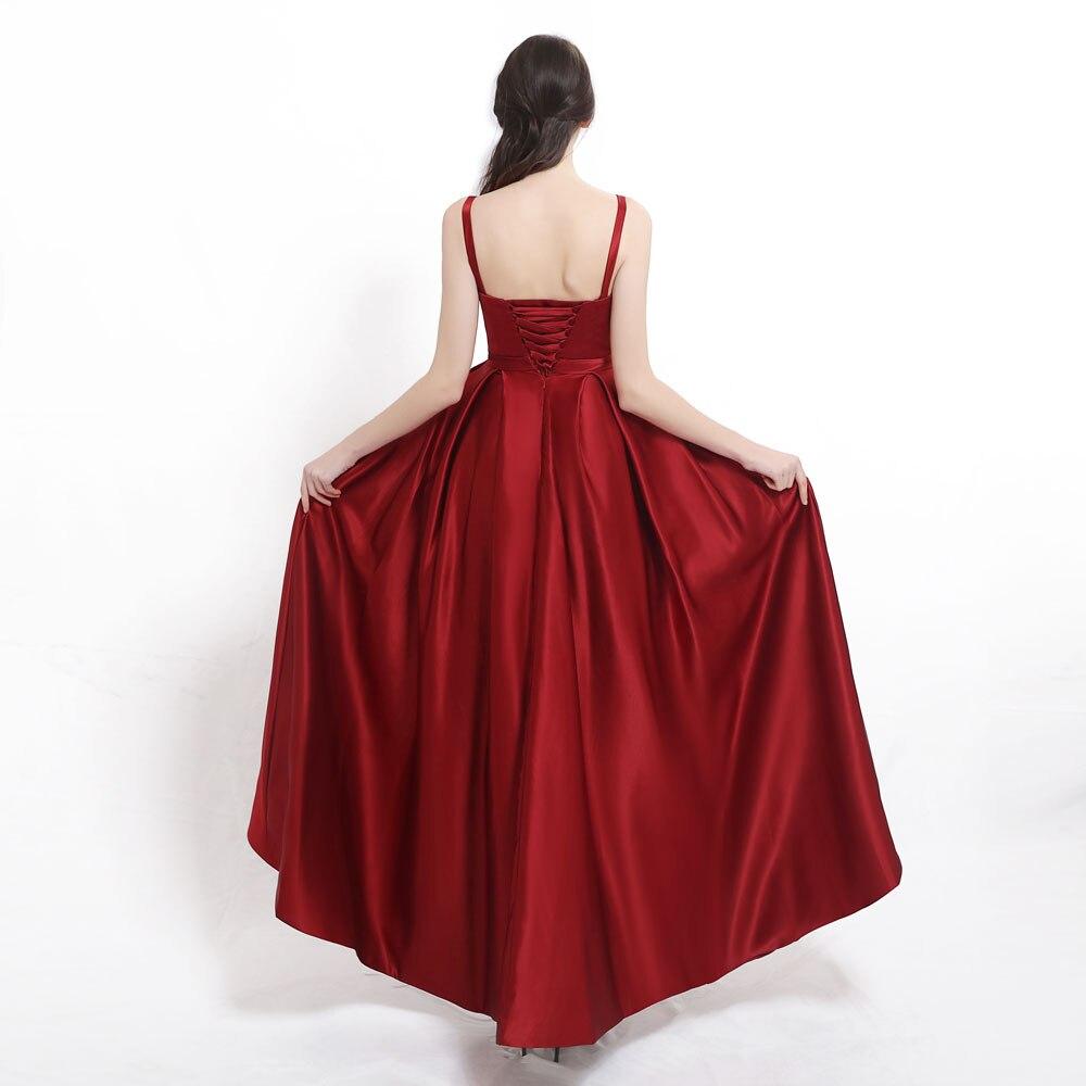 Evening-Dress Spaghetti-Straps Satin Sweetheart Vestidos-De-Fiesta Sexy High-Slit Blue