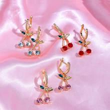 Женские серьги с кристаллами вишни flatfoosie блестящие разноцветные