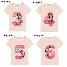 Baby Girl Happy Birthday MINNIED Mouse Number 1~9th T-shirts Kids