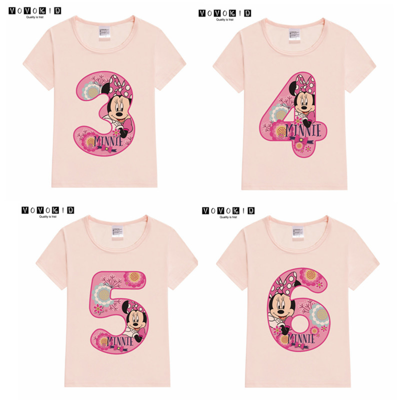 Baby Girl Happy Birthday MINNIED Mouse Number 1~9th T-shirts Kids Birthday Tshirt Baby Christmas Black Friday Gift Clothing
