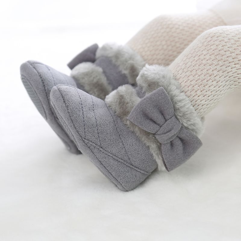 Winter 0-18M Newborn Shoes Baby Girl Cotton Boots Casual Bowknot Shoes First Walkers Newborn Cute Non-slip Soft Sole Shoes