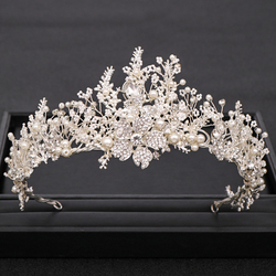 Trendy Handmade Wedding Crown Baroque Rhinestone Pearl Crystal Headband Wedding Hair Accessories Bridal Crown Hair Accessories