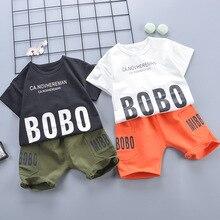 цена на Boys clothes sets summer children casual cotton t-shirts+shorts 2pcs tracksuits for baby boys kids jogging suits unisex clothing