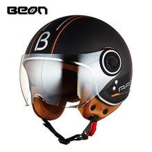 цена на BEON Motorcycle Helmet Chopper 3/4 Open Face Vintage Moto Helmet Moto Casque Casco Capacete Men Women Scooter Motorbike H