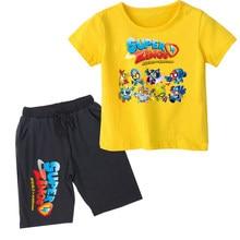 2020 meninos meninas t camisa de verão crianças bebê superzings t camisa super zings menino roupa esporte terno crianças conjunto 2-14 anos