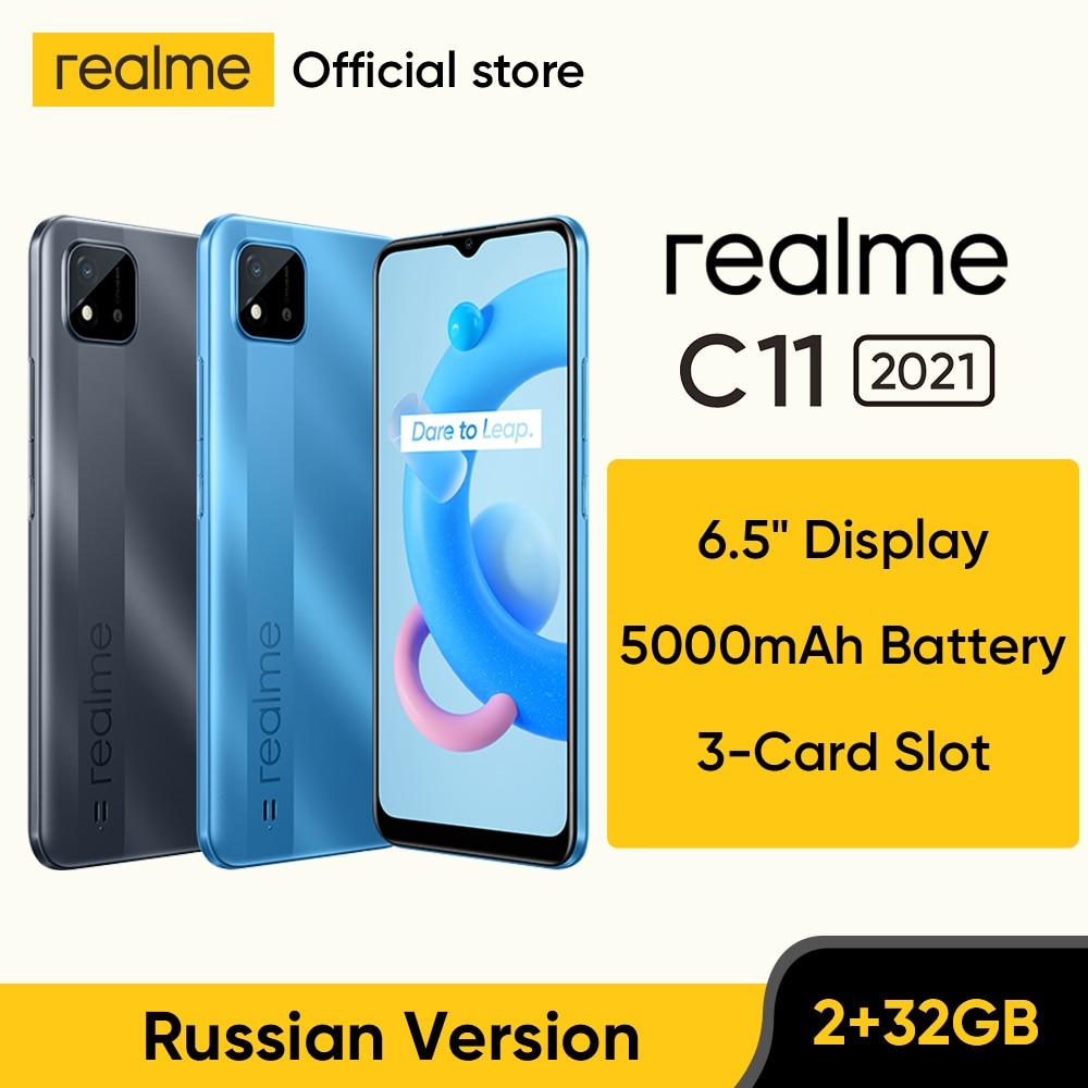 """Realme C11, 6,5 """", 5000mAh, Batería grande, 40 días de Larga modo de reposo, 3 ranuras para tarjetas, Android, teléfono con cámara de 13MP Teléfonos móviles  - AliExpress"""