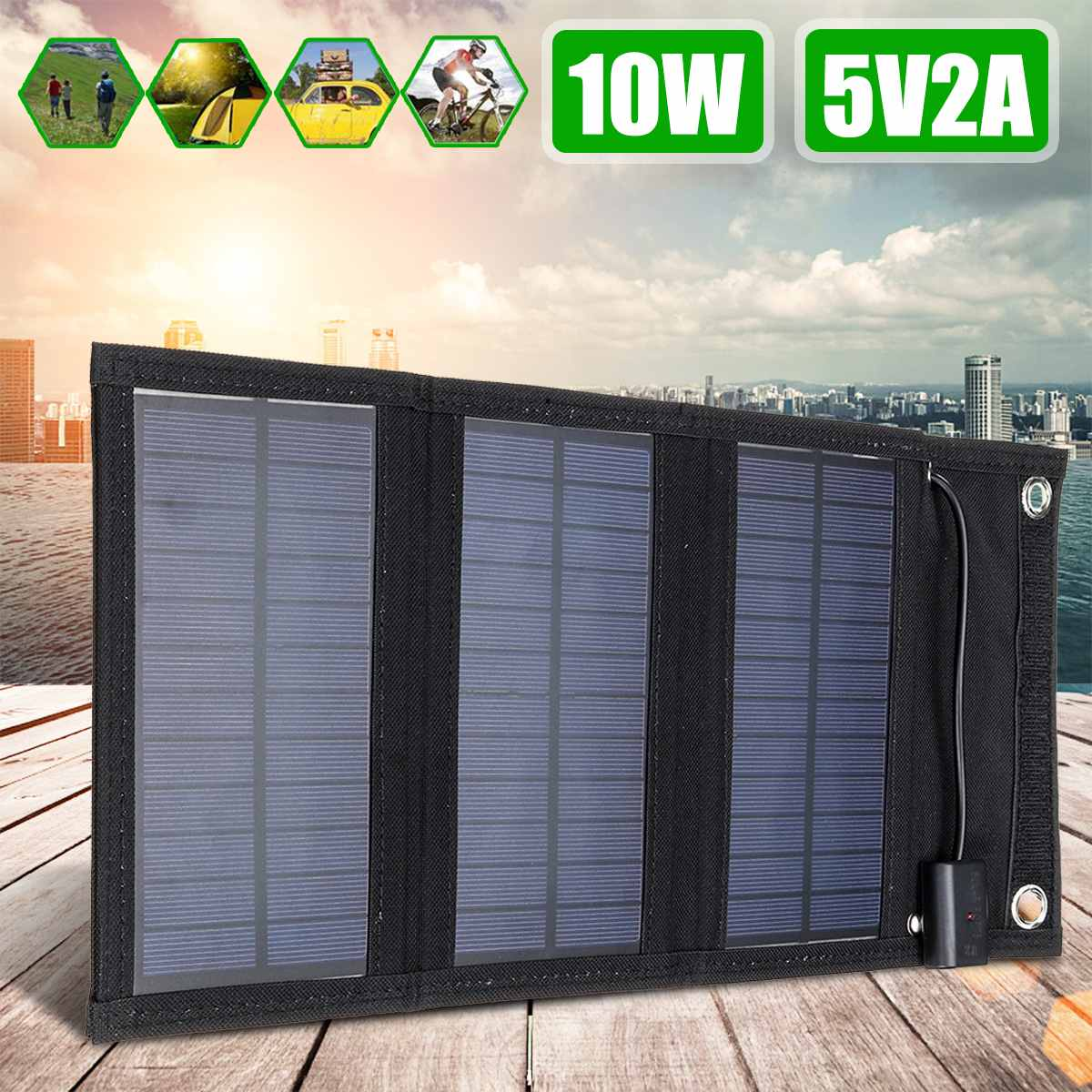 10W Folding <font><b>Solar</b></font> <font><b>Panel</b></font> Charger <font><b>5V</b></font> <font><b>2A</b></font> Foldable Waterproof <font><b>Solar</b></font> <font><b>Panel</b></font> Power Charger Mobile Power Bank for Phone Battery USB Port image