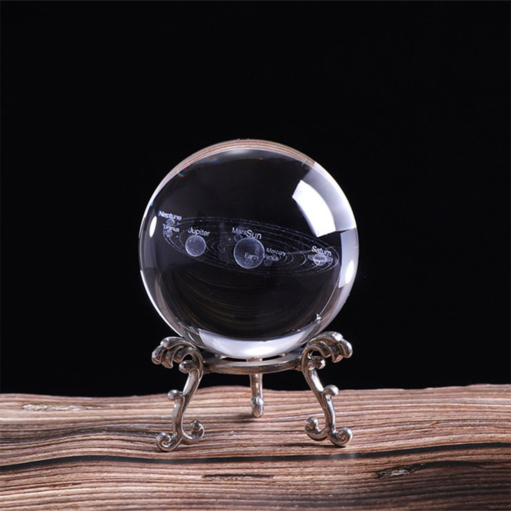 3D Solar System Crystal Ball Planets Glass Ball Laser Engraved Globe Miniature Model Home Decor Astronomy Gift Ornament Planetas