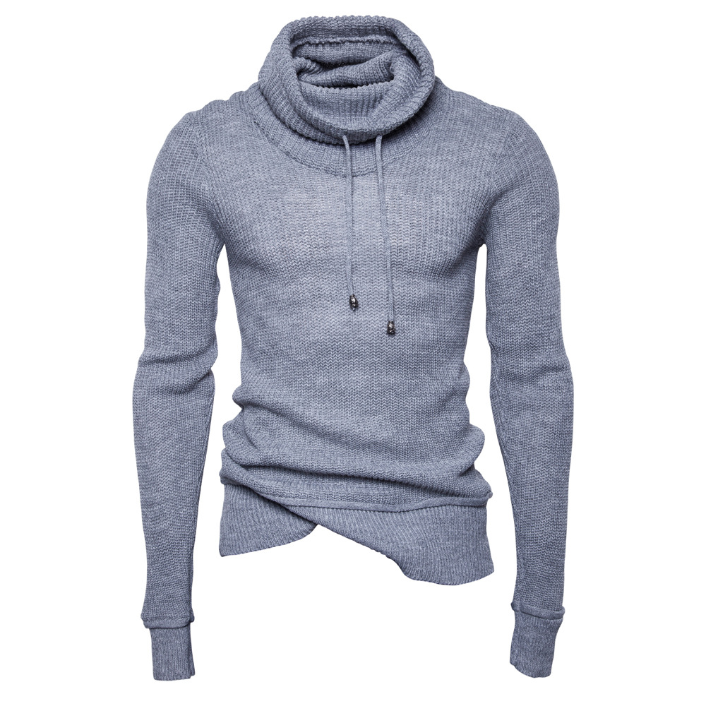 New Sweater Men Solid Pullovers Slim Fit Jumpers Men Casual Hooded Sweater Winter Warm Streetwears  Clothings