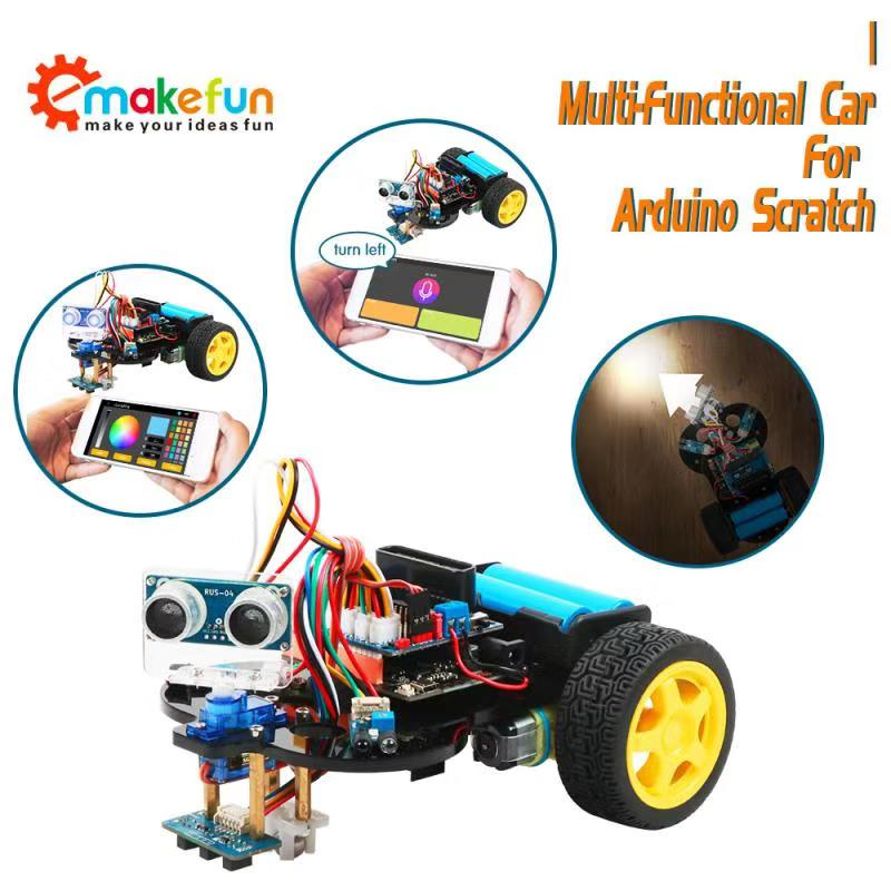 Arduino Robot Kit 4wd Cars Robotics Learning Kit Starter Bot RC Remote Control Educational Stem Toys For Children Kid