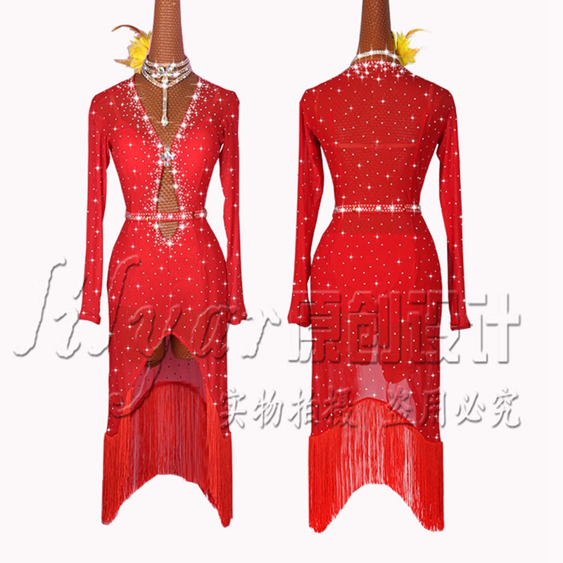 High Quality Red Latin Dance Dress For Ladies Sparkly Rhinestones Sexy Mesh Latin Competitive Dance Costume Women Stage Wear