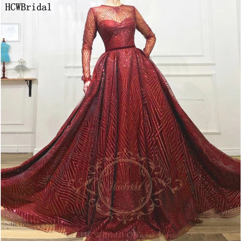 Burgundy Glitter Long Sleeves Evening Dress New Arrival A Line See Through Plus Size Arabic Prom Gowns Robe De Soiree Customize