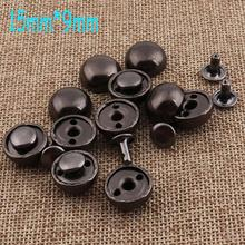 Rivets Snaps Mushrooms Craft Double-Cap Domed Round Black Prong Studs-15mm--9mm 50pcs