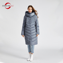 Padded Coat QUILTED Long-Jacket Hooded Parkas Women Cotton NEW MODERN SAGA Winter