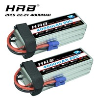 2pcs HRB RC Lipo Battery 6S 22.2V 4000mah 60C 50C 100C For Trex 700 800E tarot 650 Quadcopter Helicopter Multicopter Drone EC5 p