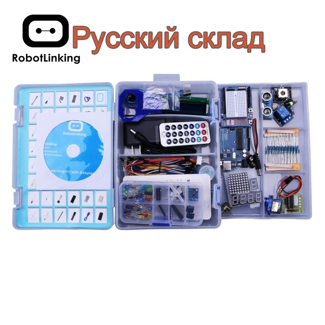 Robottinging UNO Project Kit de iniciación más completo para Arduino Mega2560 UNO con Tutorial/Fuente de alimentación/Servo Motor paso a paso