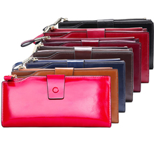 Genuine Leather Wallets Multi-functional Women's Purse New Long Design Casual Colorful Wallet Cow Leather Lady's Zipper Wallet