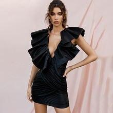 Сексуальное женское облегающее мини платье с глубоким v образным