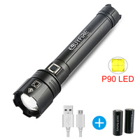 XHP90 Potable LED Flashlight Powerful USB Rechargeable Zoom Torch use 18650 of 26650 Battery Lantern Camping Hiking lamp