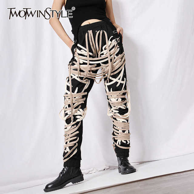 TWOTWINSTYLE Cross Bandage  Pants For Women High Waist Full Length Plus Size Casual Black Trousers Female 2020 Autumn New Style 1