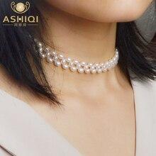 Ashiqi natural de água doce pérola gargantilhas colar genuíno 925 prata esterlina fecho 4.5 5mm pérola artesanal tecer jóias