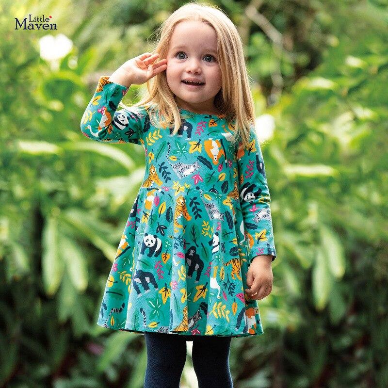 Little maven Dress Girls Party Girl Dress Animal Tiger Monkey Christmas Dress for Baby Girls Long Sleeve Dress Cotton Kids Dress 4
