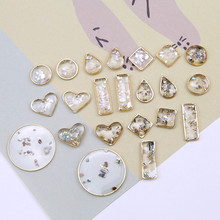 korean statement transparent round heart shape water drop embedded shell geometric earrings for women diy jewelry accessories