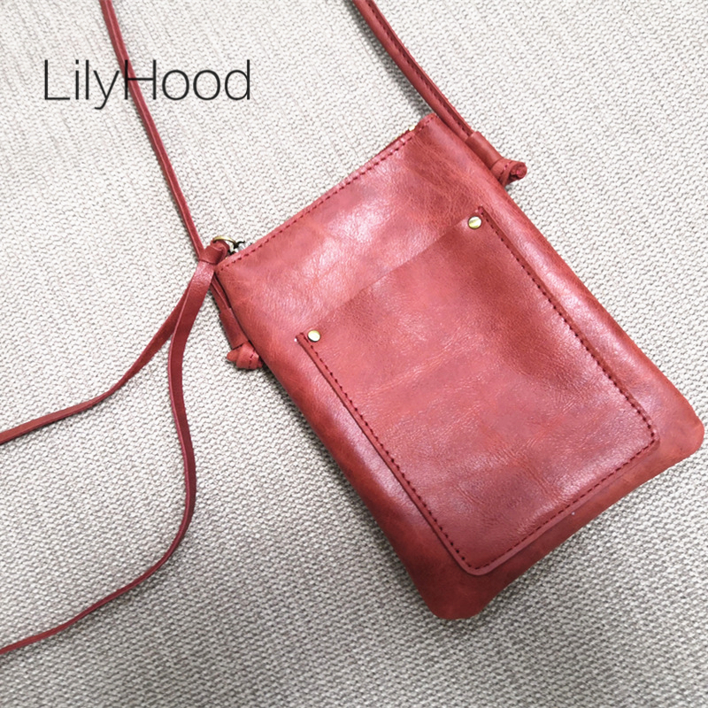 Female Small Genuine Leather Pouch Bag Lady Mini Size Quality Casual Vintage Natural Leather Cellphone Sling Bag Purse for Women