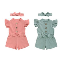 Summer Baby Kids Girls Flying Sleeve Short Pants Infant Overalls with Headband Jumpsuit Toddler Clothes цена 2017