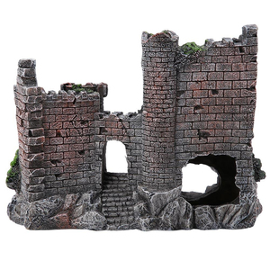 Image 3 - 新しい樹脂人工魚タンク古代城の装飾水族館ロック洞窟建築装飾水生造園飾り