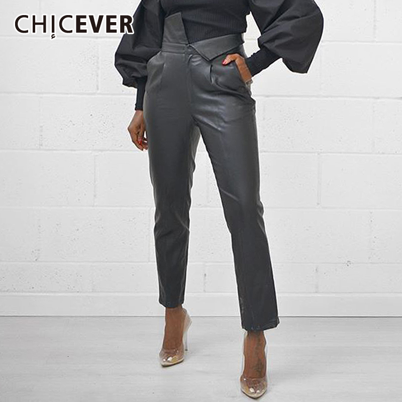 CHICEVER PU Leather Asymmetrical Pants For Women High Waist Pocket Large Size Casual Pant Female 2020 Autumn Winter Fashion New