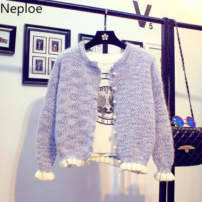 Neploe coreano doce estilo curto cardigans camisola feminina elegante babados o pescoço grânulo veste femme solto casaco estudante de malha 46277
