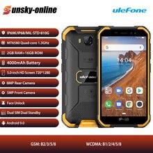 Ulefone armor x6 견고한 ip68 방수 스마트 폰 2 gb + 16 gb 안드로이드 9.0 휴대 전화 5 인치 듀얼 sim 쿼드 코어 3g lte 휴대 전화