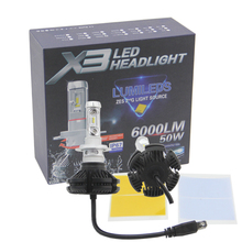 SHUOKE Super Brightness X3 H7 Car LED Headlights Bulbs 12V 50W 6000LM All in one Headlamp 3000K DIY Color Temperature