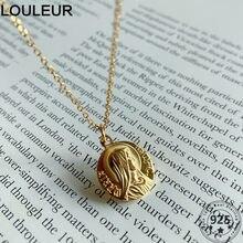Louleur Chic 925 Sterling Silber Halskette Goldene Jungfrau Maria Porträt Anhänger Halskette Für Frauen Silber 925 Feine Schmuck Charms