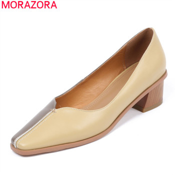 MORAZORA 2020 New Brand ladies women pumps genuine leather shallow single shoes low heel square toe dress shoes summer