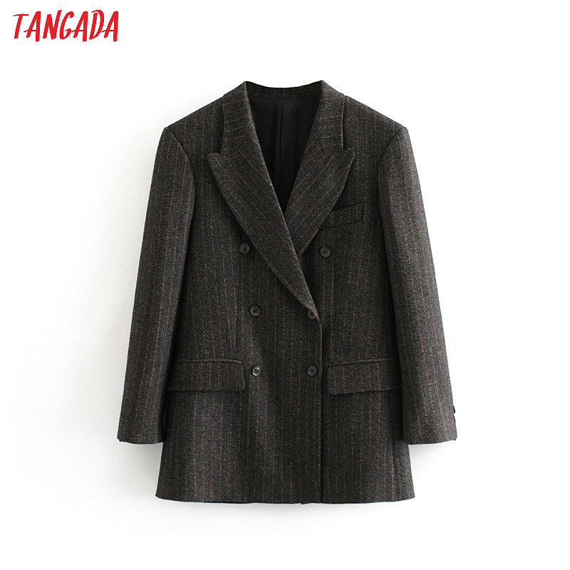 Tangada Women Gray Striped Double Breasted Suit Jacket Designer Office Ladies Blazer Pockets Work Wear Tops   3H118