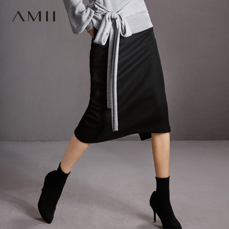 Amii Minimalist Split Skirt Winter Women Solid Loose High Waist Female Mid Long Skirt 11787518