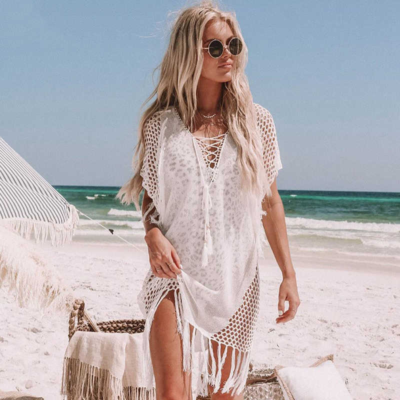 Baru Rajutan Beach Cover Up Wanita Bikini Pakaian Renang Menutupi Hollow Out Beach Gaun Rumbai Tunik Pakaian Renang Cover-up Beachwear