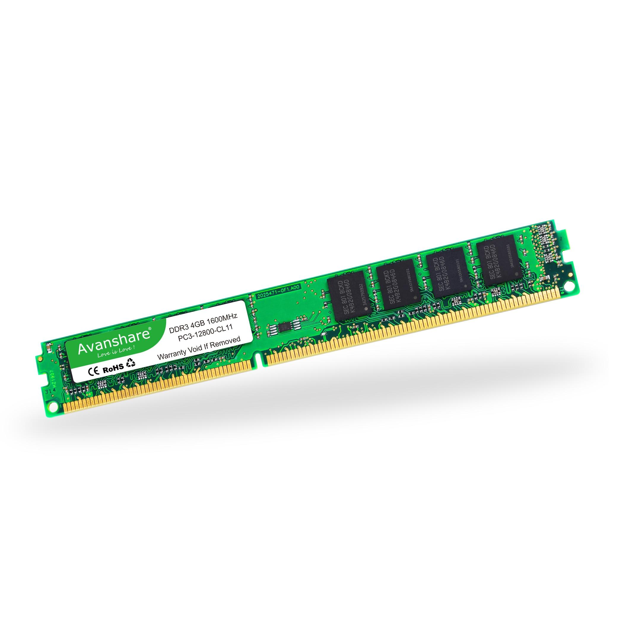 ОЗУ Avanshare DDR3 8 ГБ 4 ГБ 2 Гб 1333 МГц 1600 МГц память для настольного компьютера 240pin 1,5 в DIMM Intel AMD