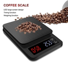 Mini Electronic Kitchen Scale Drip Coffee With Timing Function 3kg 5kg 0.1g LCD Large Screen Weighing Grain