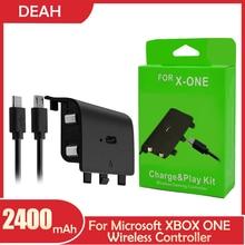 1 sztuk 2400mAh dla Xbox One bezprzewodowy Gamepad Joypad akumulator bateria z USB wymiana kabla ładowania baterie