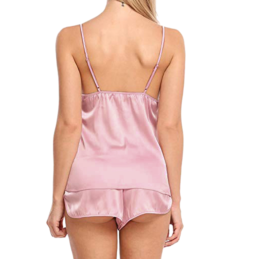 New Elegant Women Silk Satin Pajamas Set Sleepwear Shorts Babydoll Nightwear Lingerie