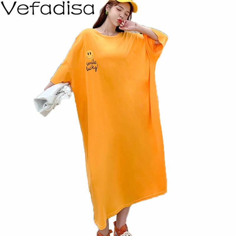 Vefadisa Orange Fuchsia Plusขนาดผู้หญิง 2020 ฤดูร้อนพิมพ์แขนสั้นๆชุดลำลองยาวQYF2934