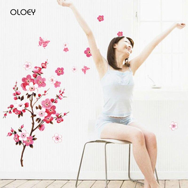 45*60 см CherryBlossom Цветочные наклейки на стену, водонепроницаемые наклейки для гостиной, спальни, настенные декорации, фрески, самоклеющиеся