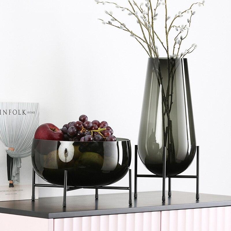 Luxueux décor à la maison Art Vase Vases à fleurs ornements Transparent panier de fruits avec étagère en métal porte-plantes conteneur en verre