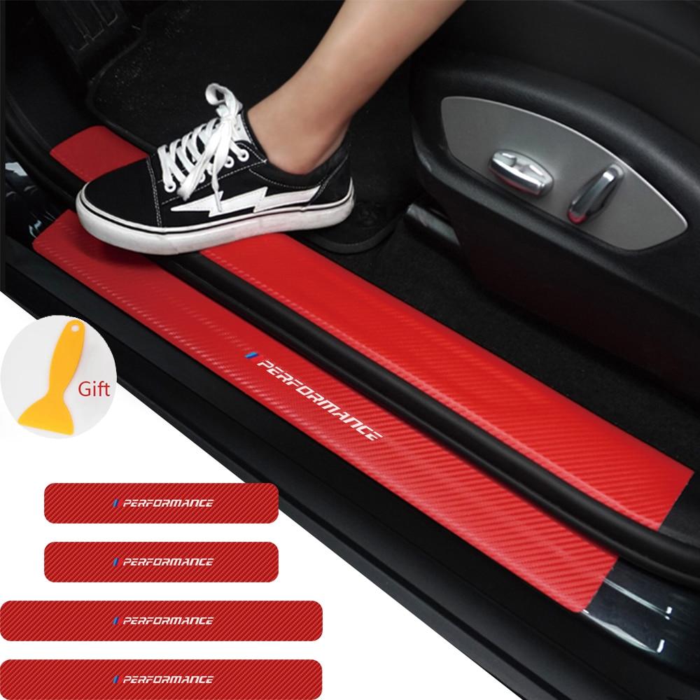 4 шт. автомобильный Стайлинг двери из углеродного волокна Накладка на порог Декор Наклейка для BMW M Мощность Производительность X1 X3 X5 X6 7E Z X M3 ...