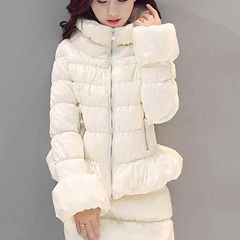 ผู้หญิง 2019 ฤดูหนาวแฟชั่นเสื้อ 2 ชิ้นชุดปักเป้าลง Parka และ Wadded สั้นชุดกระโปรงหญิงผ้าฝ้ายเบาะชุด K332