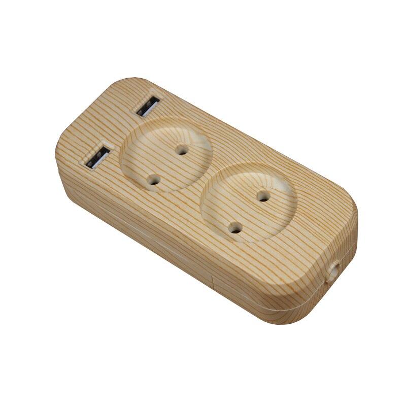 Power Strip 2 EU Plug 1200W 250V,5V 2A Wood Tree Color Portable 2 USB Port For Mobile Phones For Smartphones Tablets F-01-6