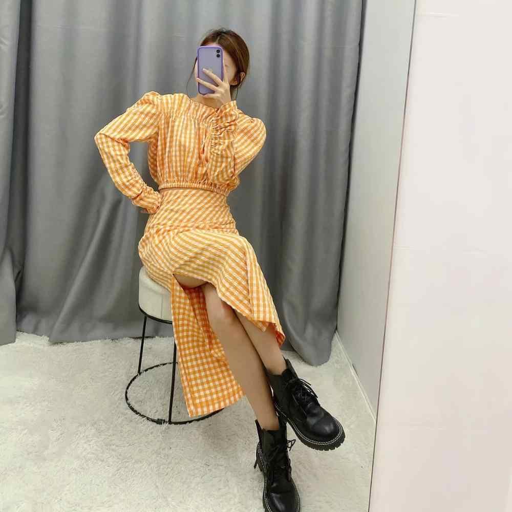 ZA 새로운 정장 여성 두 조각 세트 오렌지 격자 무늬 인쇄 셔츠 & pleated 치마 높은 허리 여성 여성 의류